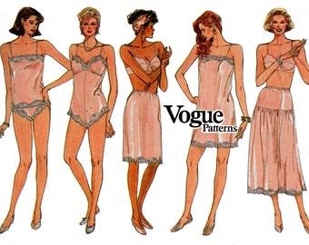 Vogue 9765 Vintage 80s Slip Camisole Half Slip Teddy Panties Lingerie Underwear Pattern Size 6 8 10 12 14 Bust 32 34 36 inches