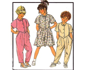 80s Toddlers Overalls & Dress Pattern Style 4980 Rompers Dungarees Shirtdress Size 4 Breast 23 inches UNCUT Factory Folds