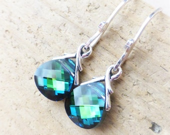 Swarovski Crystal Earrings, Green Crystal Earrings, Sapphire Blue Swarovski Crystals, Sterling Silver Briolette Earrings, JBMDesigns, Gift