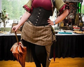 "Black with brown plaid hitcher skirt and bolero 30"" long steampunk, cosplay, lolita"