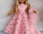 18 inch doll clothes - #216 Pink Valentine Gown handmade to fit the American Girl Doll - FREE SHIPPING