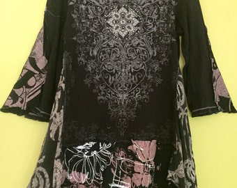 Black Taupe upcycled tunic w bling fits S M