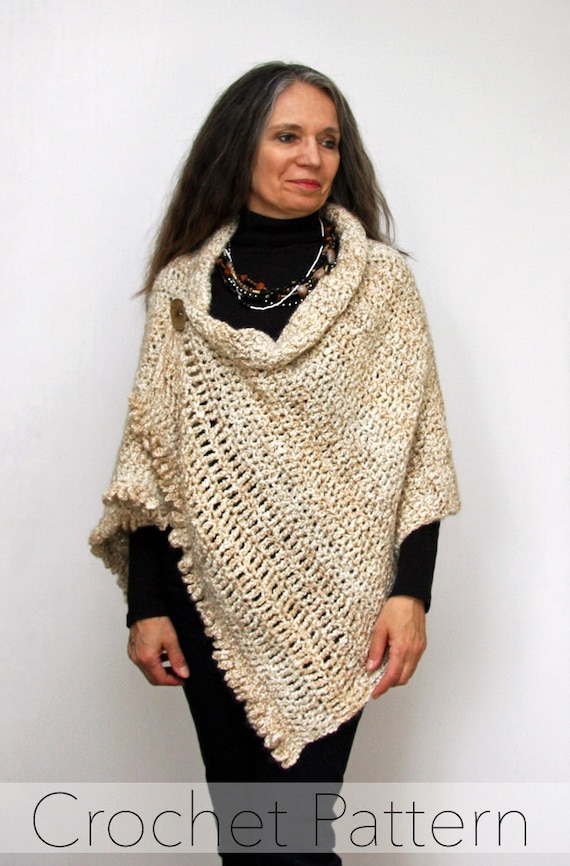 Crochet Shawl Pattern Button Wrap Poncho By