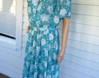 80s Print Dress Casual California Looks Petite M L Vintage