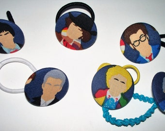 Dr. Who Set of 3 Button Pony O's,Doctor Who Ponytail Holder, Elastic Headband,Fabric Covered Hair Tie,British Science Fiction Time Traveler