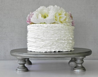 "Aged Silver Cake Stand 12"" Wedding Cake Stand Cupcake Aged Vintage Silver Cake Topper E. Isabella Designs Featured In Martha Stewart Wedding"