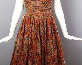 50s ETHNIC BATIK cotton print circle full skirt sundress halter bohemian gypset DRESS vlv pin up vintage 1950s