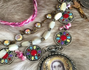 madres - necklace our lady virgin mary portrait enamel mother of pearl rosary crystal chain rosary cross ruby catholic religious bohemian