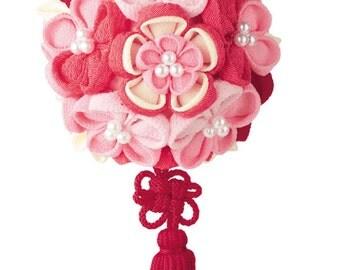 DIY Knob crafted flower Temari (Pink) Japanese Folk Art  Fabric kit --- Japanese Craft Kit PA-LH-377