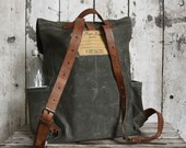 Rogue Waxed Canvas Backpack in Moss, Rucksack, Waxed Canvas Bag, Bicycle Bag, Bike Bag, Waxed Canvas Travel Bag, Leather Straps, Travel