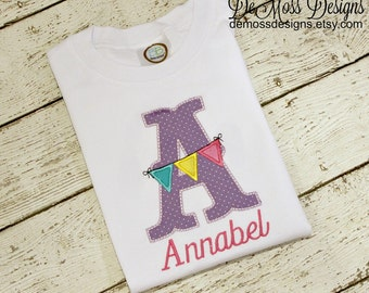 Personalized Banner Flag Shirt, Appliqued, Birthday Number or Letter, Short or Long Sleeve Shirt,  Totally Custom Colors and Fabrics