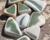 Genuine Sea Pottery Pieces - Vintage Green and White Found Sea Pottery Shards from California