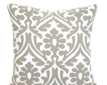 Taupe White Decorative Throw Pillow Covers, Cushions, Taupe Ecru White Damask Holly, Couch Bed Sofa Shabby Chic Taupe Cushions One ALL SIZES