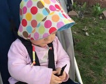 Made to Order Cotton Reversible Bright Colored Dots Sun Bonnet, Sizes Newborn - 18-24 Months