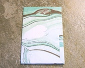 4 Pocket Kraft Folder for FIELD NOTES Faux Midori Travelers Notebook Green Marble