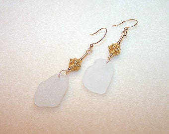 White Earrings Sea Glass Earings Beach Glass Jewelry 3 Inch Gold Dangle Pendant Earrings for Her Beach Jewlery Gift Ideas Ships from Canada