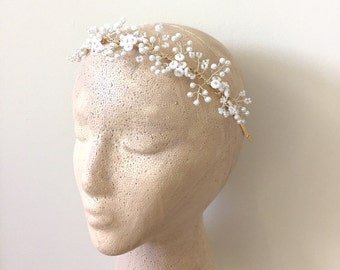Bridal Headband, Pearl headband, White wedding Baby's Breath  Style02