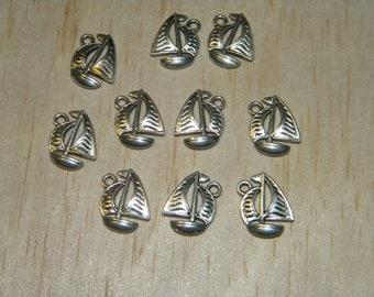 10 Nautical Sail Boat Silver Tibet Beads