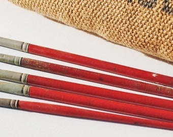 5 Vintage Red Wooden Paint Brushes (E) - Paint Brushes, Home Decor, Display, Photo Props, Mixed Media Supplies, Assemblage Supplies, Brushes