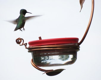 Hummingbird Feeder Single Port, Copper Garden Art, Glass Hummingbird Feeder, Unique Bird Feeder, Copper Bird Feeder, Garden Decor