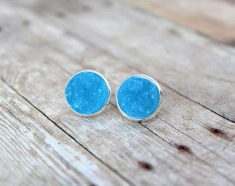 P A R A D I S E  - Blue Opaque Chunky Sparkle, Faux Druzy, Silver Plated Stud Earrings, 12mm