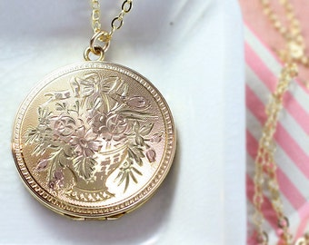Gold Locket Necklace, Large Round 12K Gold Filled Photo Pendant Flower Basket Engraved - Bouquet