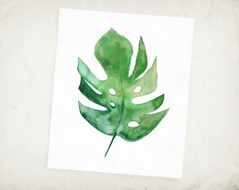 Tropical Leaf - Philodendron - Watercolor Leaf Archival Print