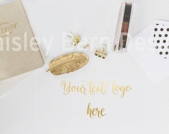 SALE Styled Gold Desktop Stock Photography I Hi-Res JPEG 300Dpi, INSTANT Download,gold dot, feather, office, blog, branding, header, logo