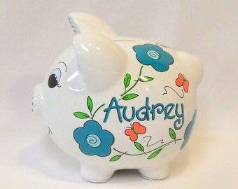 Piggy Bank Personalized with Teal  Flowers and Coral/Pink Butterflies
