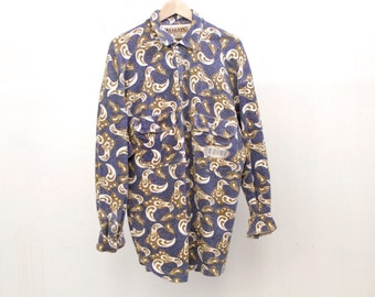 flannel VERSACE style men's PAISLEY style ABSTRACT 90s long sleeve button up shirt pastel purple short sleeve vintage button up down shirt