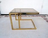 HOLLYWOOD REGENCY Brass and Glass Side Table (Los Angeles)