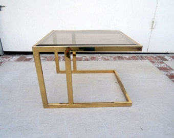 SALE-HOLLYWOOD REGENCY Brass and Glass Side Table (Los Angeles)