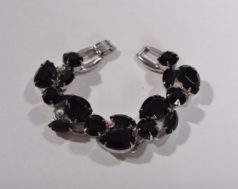 Vintage 1960s Juliana Black Bracelet - Aurora Borealis Rhinestones - Holiday Fashions
