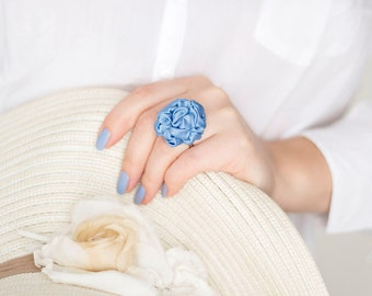 Blue fabric ring, pastel textile ring, ruffled ring, fabric jewelry, textile jewelry, fiber ring, Unique Gift for Her