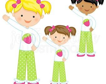 Little Strawberry Girl Cute Digital Clipart - Commercial Use OK - Little Girl Graphics, Strawberry Girl Clip art, Girl Illustration, #093