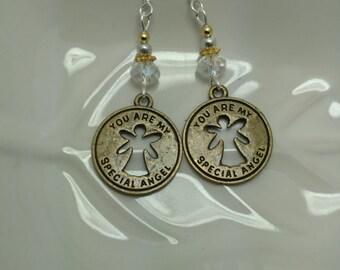 Special Angel Earrings, Gold Angel Sterling Silver Earrings, Gold Angel Earrings, White Angel Sterling Silver Earrings
