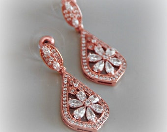 Rose Gold Crystal Earrings, Chandelier Earrings, Bridal Earrings, Vintage Style, Art Deco - TESS