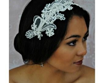 Lace Bridal Headband, Ivory Headband, Bridal Fascinator, Pearls and Sequins - JULIANA