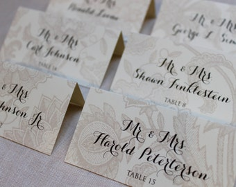 Flower Pattern Escort Place Cards