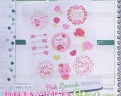 Pink Red & Gold Valentine's Day - printed kiss cut stickers for your planner or calendar - mini sampler sheet - MATTE