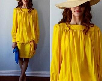 Vintage Dress, Vintage Dresses, 1980s Ungaro Parallele, 1980s Ungaro, Yellow Dress, Cotton Dress, Designer Dress, Couture Dress