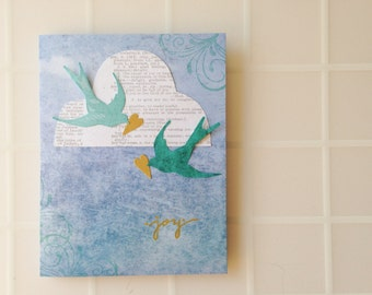 Handmade Card - Joy - Birds - Cloud - New Baby - Engagement - Birthday - Graduation - Thank You - greeting card