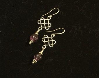 Matte Silver Celtic Knot Earrings w/Purple Czech Glass Bead