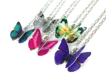 Butterfly Necklace - Gold or Sterling Silver Butterfly Necklace Pink Butterfly Pendant Necklace Purple Butterfly Wing Necklace