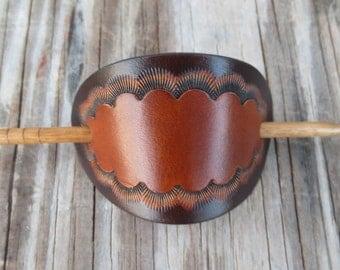 Small Two Tone Leather Stick Barrette