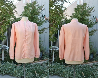 1990's Pink Blouse Top Asian Influence Size 12 Medium Vintage Retro 90's Office Secretary Hipster Business