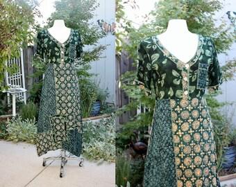 1990's Green & Mustard/Ochre Print Boho Hippie Dress Size Medium Vintage Retro 90's Rayon Patchwork Festival