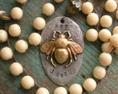 Crochet bee pendant necklace - Bee Loved - boho layering jewelry, cream silver, bohemian, vintage hand stamped spoon bumblebee love soldered