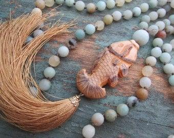 Beaded tassel necklace boho jewelry - Fish Tales - long necklace, bohemian jewelry, aqua, sand, summer beach jewelry, amazonite, fish, sea