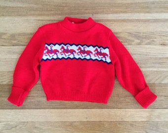 Vintage 60s / Baby Boy / Red / Blue / Horse / Sweater / Size 3-6 months